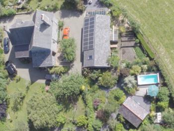 Ty Haf at Tyglyn Lodge - Aerial view with Ty Haf (bottom right) in secluded garden location