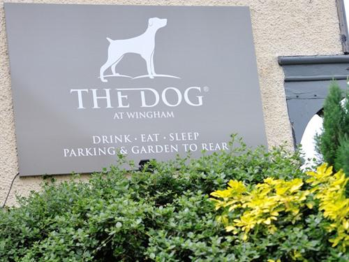 The Dog at Wingham sign on Canterbury Road, leads to our car park