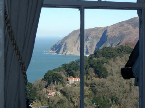 View through The Cleaves bedroom window of Lynmouth Bay