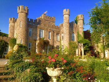 Blue sky and flowers at Augill Castle