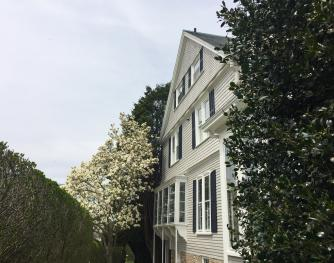 Side View of La Farge Perry House with Magnolia Tree