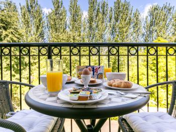 Breakfast on the balcony over looking the golf course.