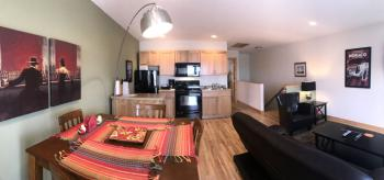 Living Room, Kitchen, Dining Panoramic