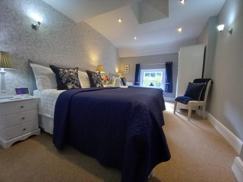 Beautiful decorated bedroom comfy beds. View of the Iron Bridge