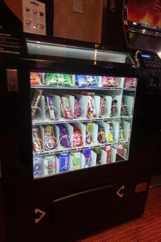 Chilled vending machine with drinks and snacks