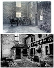 Then & now historic view of front of property