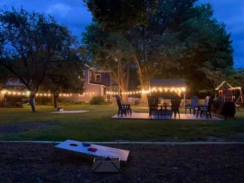 Backyard FUN yard lit up at night!