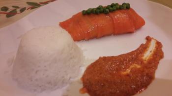 A la table d'hôtes : dos de cabillaud en robe de carotte, sauce au chorizo