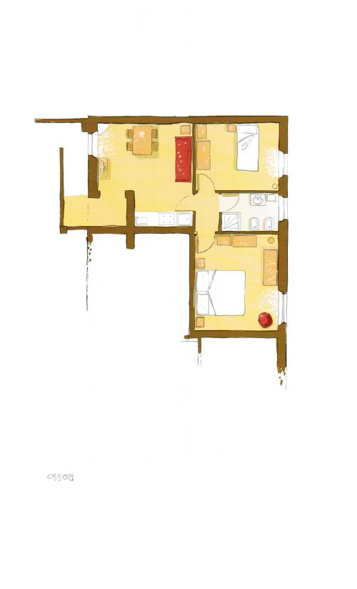 Appartamento-Appartamento-Bagno privato-Vista sulla campagna-Giallo/Rosso - Rack Rates