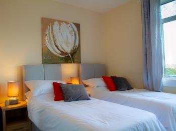 Fox House - Second bedroom set as twin single beds. This room is usually set as a King size double.