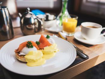 Eggs Royale - Toasted Scottish muffin, with Poached Egg, Scottish Salmon & Hollandaise Sauce