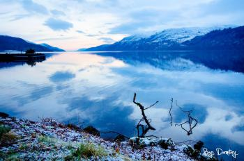 Loch Ness in the snow, on a beautiful calm morning