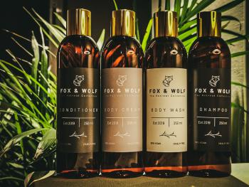 Exclusive range of Fox & Wolf Vegan Friendly Toiletries