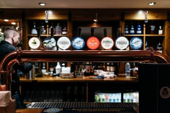 Fully stocked bar with a variety of drinks options