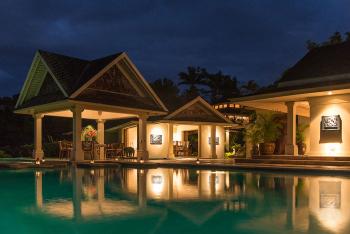 Main Pool, Gazebo, and Dining Room - Night