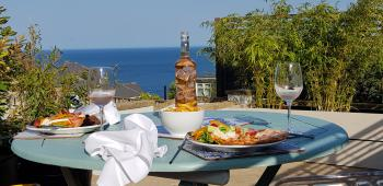 Sea view dining from the rear terraces