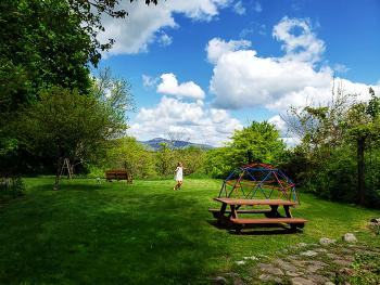 spacious backyard with Catskill mountain view, picnic table, glider, large deck, koi pond