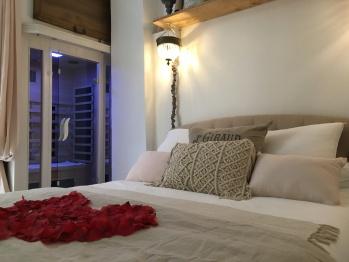 Vue sur lit et sauna dans appartement sauna jacuzzi