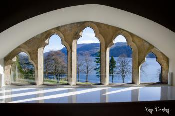 Loch Ness, as seen through the stone mullioned windows in the lounge area