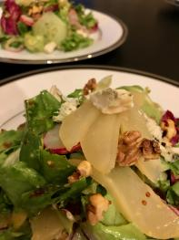 Poached Pear salad with Roquefort