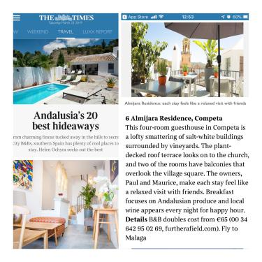 Top 20 Andalusian Hideaways as ranked by The Times of London