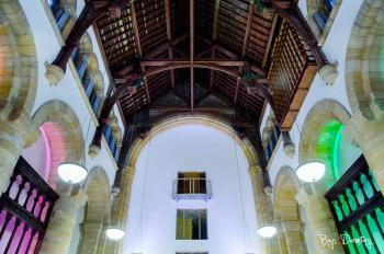 Architectural shot of the old wooden ceiling in the chapel - communal area within the monastery