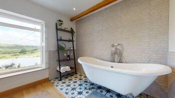 The Little Cottage - Bedroom bath shutters open