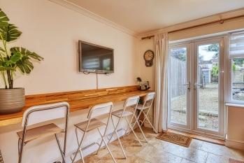 Family Room with Breakfast Bar & Stools