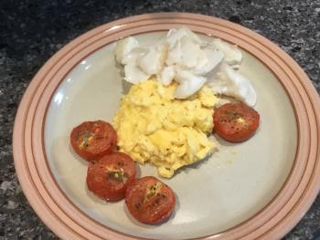 One of our Breakfast options - Alfred Enderby smoked haddock with scrambled eggs and roasted tomatoes