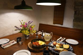 Breakfast for our BnB friends is a social affair and happens either in the castle kitchen or dining room