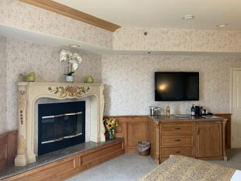 fire place and flat screen tv