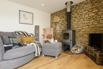 Barn End sitting area and woodburner