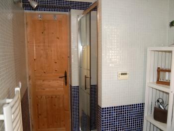 la salle d'eau vue sur la douche est en mosaîque bleue et blanche