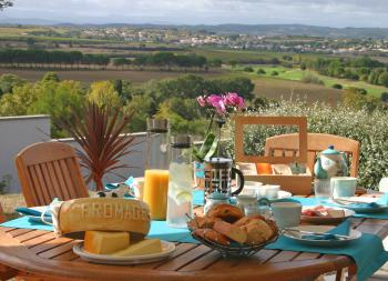 Les Balcons de Maragon - Breakfast served on our Terrace overlooking the Pyrenees and the golf course