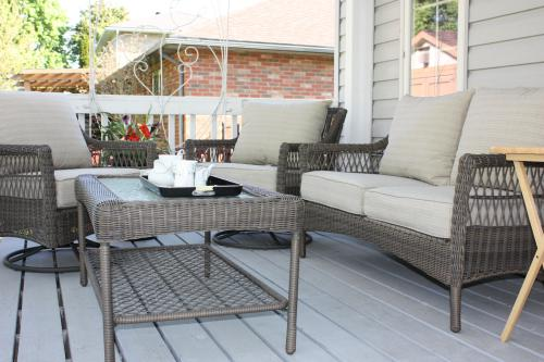 back deck as very comfortable chairs to relax
