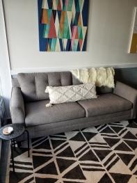 Sleeper sofa converts to comfortable additional sleeping arrangements.