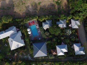 Vue aérienne du Shambala Lodge