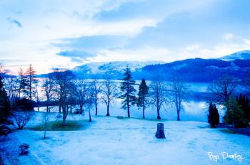 Beautiful sunrise view of loch ness in the snow, from our window