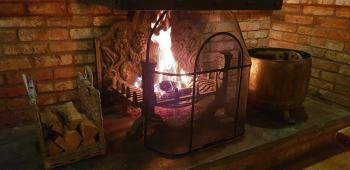 Open fire in the restaurant