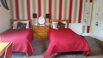 single beds in the family room