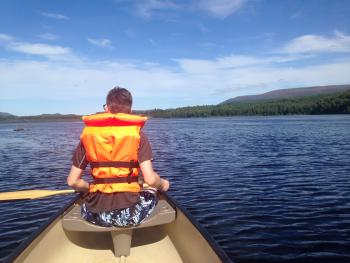 Kayaking on the river Spey
