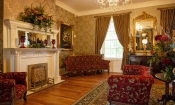 The Parlor Sitting Area and Fireplace