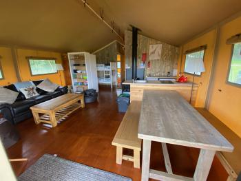 Large luxurious safari tent, plenty of space and facilities