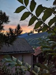 soleil couchant vu de la terrasse
