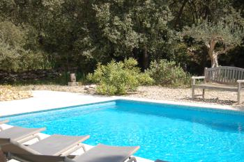 la piscine 5x9m et son environnement de garrigue