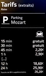 Se Garer à 200m: Tarifs Parc MOZART (accès 11 avenue Auber)