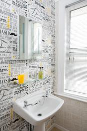 Standard double ensuite with fun wallpaper