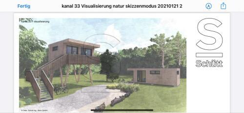 Lodge-Panorama-Eigenes Badezimmer-Blick auf den Kanal-Stelzenhaus - Unser Preis oF