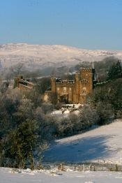 Augill Castle in a snowy landscape
