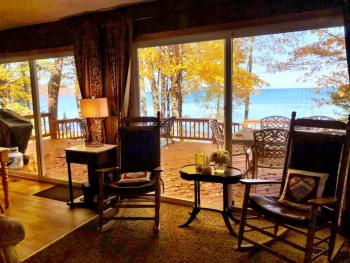 We have a great view of the water from INSIDE great for anytime of year!  Open year round.